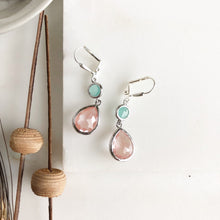 Load image into Gallery viewer, Grapefruit Pink and Aqua Dangle Drop Bridesmaid Earrings in Silver. Bridal Earrings.