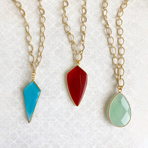 Chunky Chain and Bezel Stone Necklace in Gold. Blue Chalcedony, Mint Green Chalcedony and Red Onyx