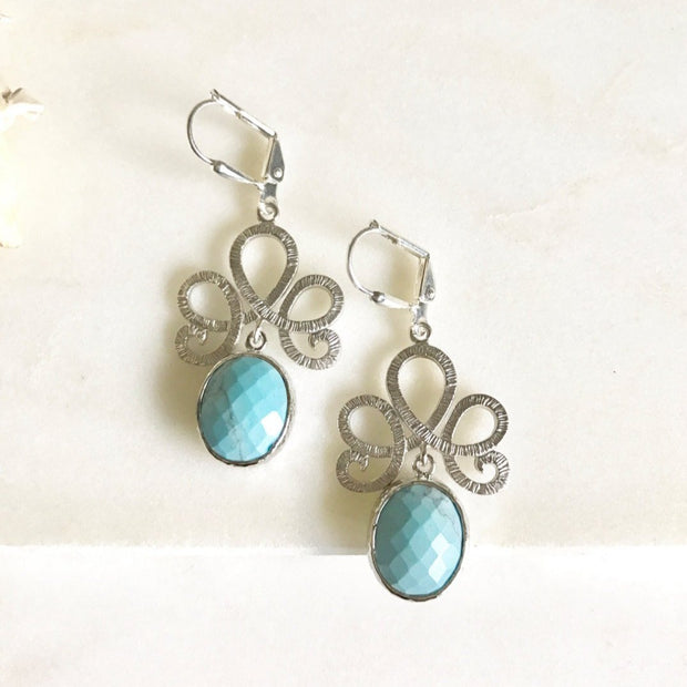 SALE - Turquoise Drop Earrings in Silver. Turquoise Dangle Earrings. Bridesmaids Earrings. Jewelry Gift. Drop Earrings. Gift.
