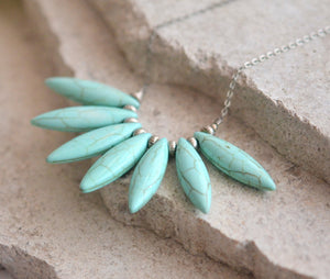 Turquoise Marquise Bib Necklace in Silver. Bib. Statement Necklace with Turquoise Howlite Stones. Aqua Spike Necklace.