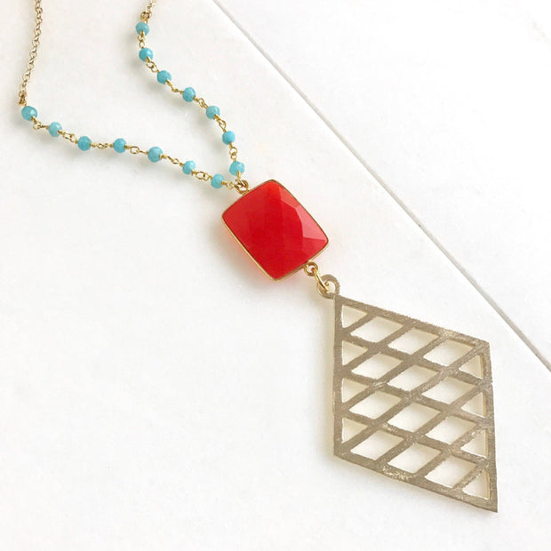 Coral and Turquoise Long Pendant Necklace. Long Boho Red Orange and Turquoise Necklace