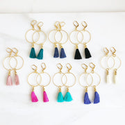 Tassel Hoop Earrings in Gold. Gold Hoop Earrings