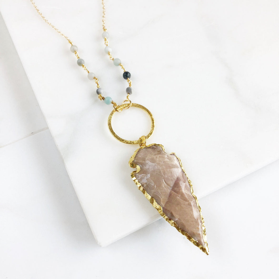 Arrowhead Necklace. Long Gold Amazonite Arrowhead Necklace. Tan Arrowhead and Amazonite Beaded Chain. Boho Pendant Necklace. Gift.