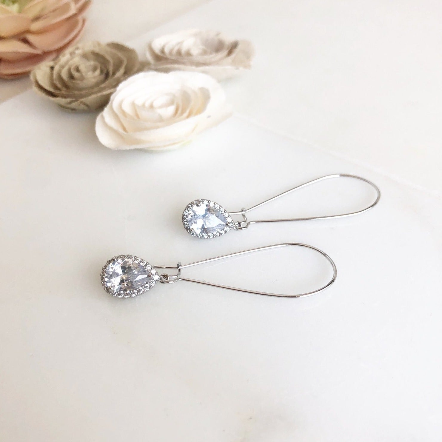 Large Simple Silver Bridal Drop Earrings. Cubic Zirconia Drops. Dangle Earrings.
