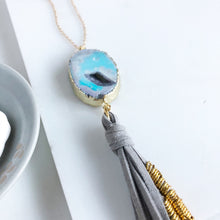 Load image into Gallery viewer, Boho Tassel Necklace. Grey Tassel Necklace and Blue Grey Druzy Quartz. Long Necklace. Boho Style.