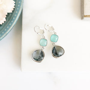 Charcoal and Aqua Drop Earrings in Silver. Aqua and Gray Bridesmaid Dangle Earrings. Jewelry Gift Her. Christmas Gift.