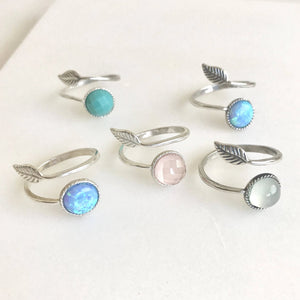 Sterling Silver Stone and Leaf Rings. Adjustable Silver Ring.