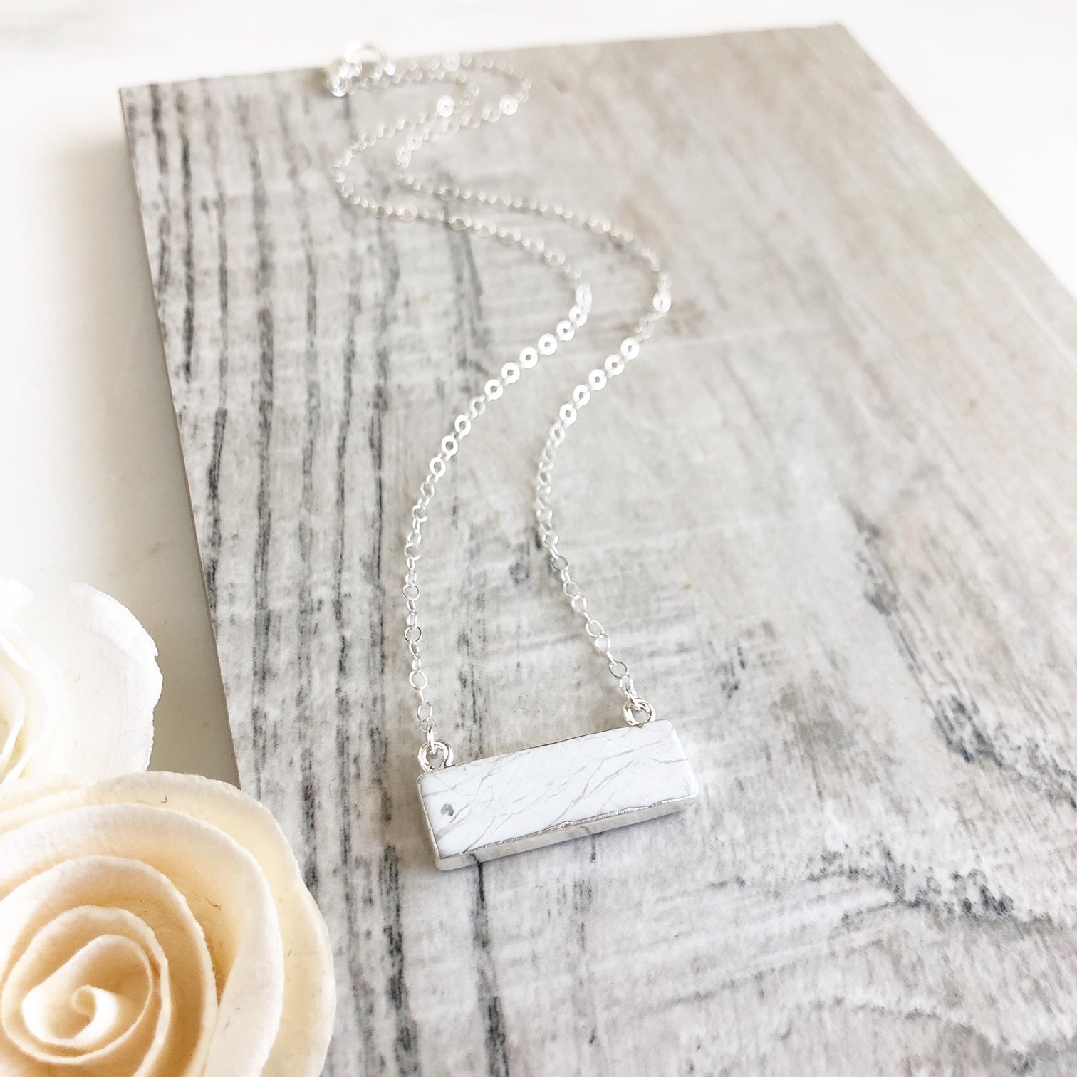 Howlite Bar Necklace. White Bar Necklace. Silver Layering Necklace. White Silver Necklace.