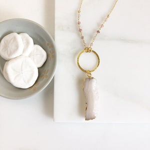 Long Boho Crystal Necklace in Gold. Druzy Raw Crystal Stone Circle Necklace with Gemstone Beaded Chain. Long Bohemian Necklace. Gift.