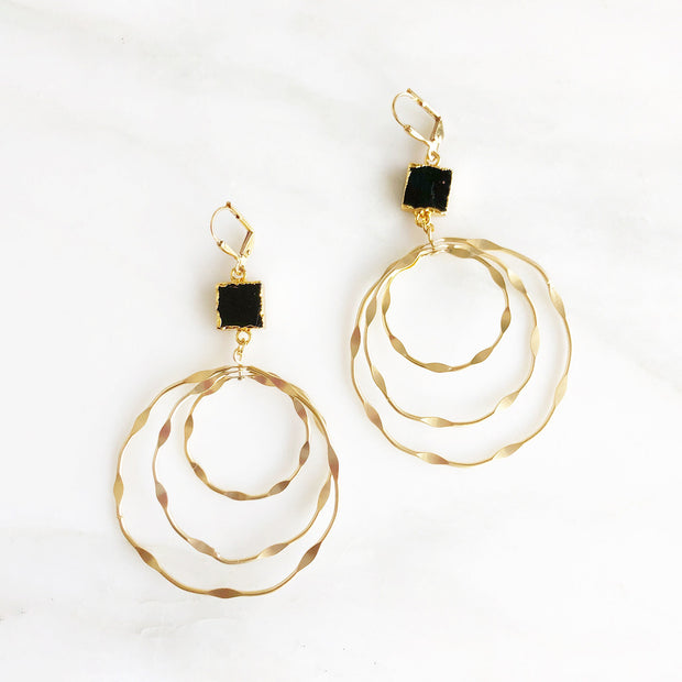 Super Big Multiple Hoop Earrings with Black Onyx Stones. Statement Earrings