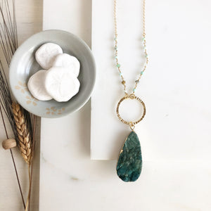 Long Green Druzy Teardrop Necklace with Amazonite Beaded Chain in Gold. Long Gold Necklace.