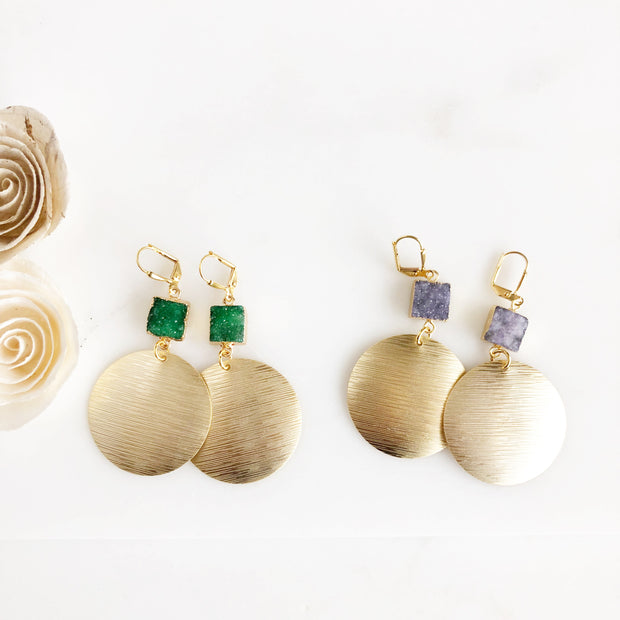 Gold Circle Statement Earrings with Druzy Quartz Stones. Druzy Statement Earrings. Gold Earrings.