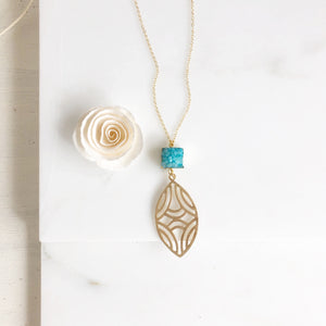 Long Aqua Blue Druzy and Marquise Gold Pendant Necklace.