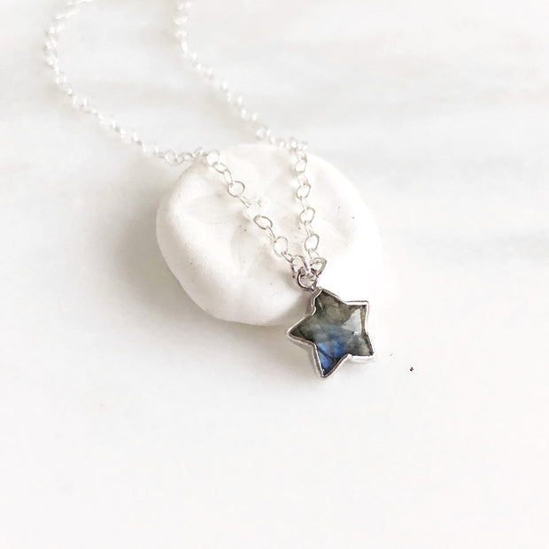 Dainty Labradorite Star Necklace in Sterling Silver. Crystal Gemstone Layering Jewelry