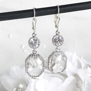 Silver Bridal Earrings with Clear Stones. Drop Bridesmaids Earrings. Dangle Earrings. Bridal Jewelry. Modern Earrings. Wedding. Gift.
