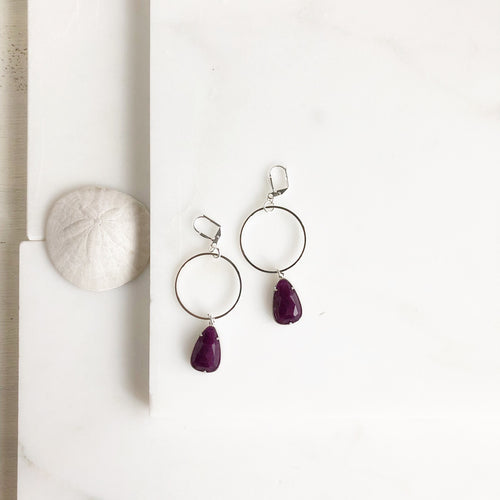Silver Hoop and Purple Stone Statement Earrings