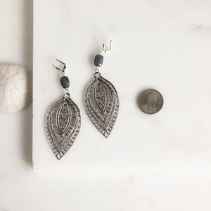 Big Silver Statement Earrings with Labradorite Stones