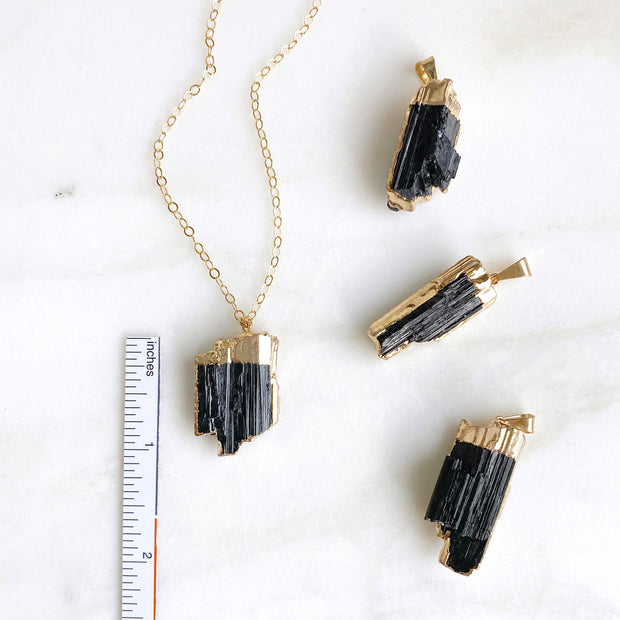 Raw Tourmaline Stone Necklace in Gold. Unique Raw Black Stone Necklace