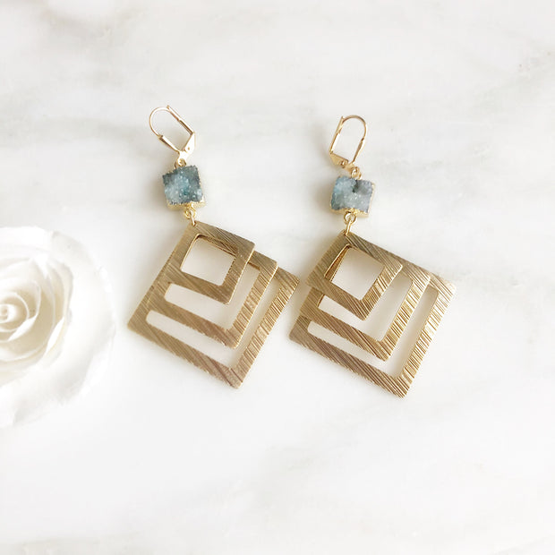 Geometric Statement Earrings. Aqua Statement Earrings. Aqua Druzy Earrings. Square Aqua Earrings.
