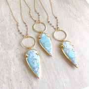 Long Sky Blue Arrow Necklace in Gold. Long Stone Necklace. Long Gold Necklace. Jewelry.