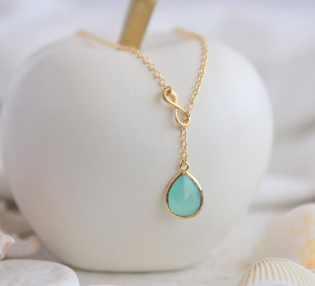 Aqua Teardrop and Gold Infinity Lariat Necklace. Lariat Necklace. Mint Necklace. Gift. Bridesmaid Jewelry. Modern Necklace. Christmas Gift.