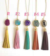 Load image into Gallery viewer, Tassel Necklace. Leather Tassel Necklace. Fall Colors Tassel Necklace. Solar Quartz Crystal Long Tassel Necklace. Boho Tassel Jewelry.