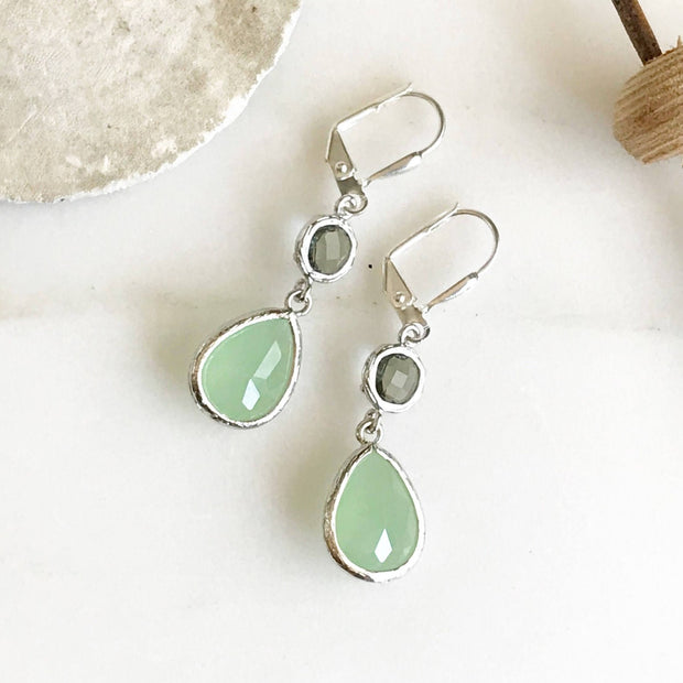 Bridesmaids Earrings in Mint and Charcoal. Silver Dangle Earrings Drop Earrings. Bridesmaid Earrings. Wedding Earrings. Jewelry Gift.