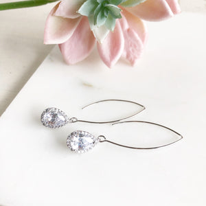 Silver and Cubic Zirconia Stone Drop Earrings. Bridesmaid Gift. Silver Bridal Drop Earrings.