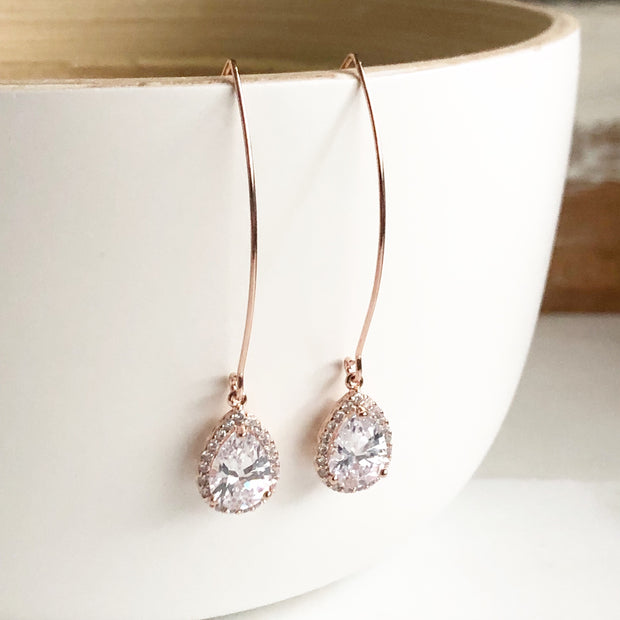 Rose Gold and Cubic Zirconia Stone Drop Earrings. Bridesmaid Gift. Rose Gold Drop Earrings.