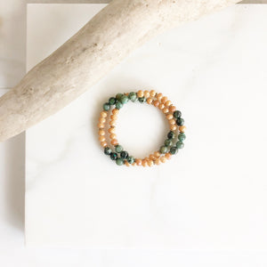 Set of Two Beaded Stretch Bracelets. Boho Beaded Bracelet. Peach and Green Beaded Stacking Bracelet. Holiday Gift. Christmas Gift.