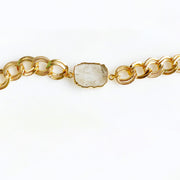 Chunky Gold Chain Bracelet with Quartz Gemstone Slice. Gold Quartz Chain Bracelet