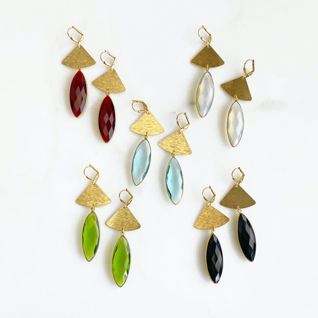 Gemstone Jewel Statement Earrings. Jewel Bezel Teardrop Dangle Earrings in Gold