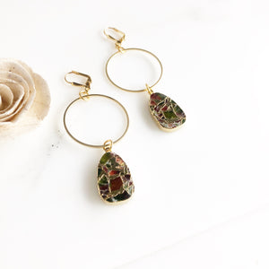 Gemstone Hoop Earrings with Mohave Tourmaline Drops. Gemstone Earrings.