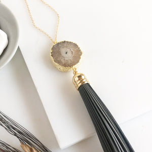 Grey Tassel Necklace with Brown Solar Quartz Stone. Leather Tassel Necklace. Long Gold Necklace.