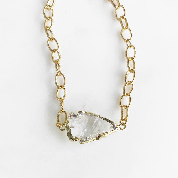 Crystal Quartz Arrowhead Choker Necklace in Gold. Chunky Gold Chain Clear Crystal Stone Choker