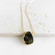 Labradorite Gemstone Slice Necklace in Gold. Dainty Gemstone Layering Necklace. Simple Delicate Crystal Necklace