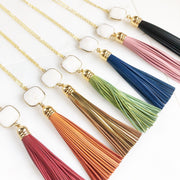 Long Leather Tassel Necklace in Gold. White Stone and Turquoise Orange Aqua Tassel Necklace. Boho Jewelry