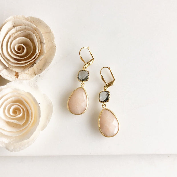 Soft Peach and Charcoal Earrings in Gold. Drop Dangle Glass Earrings