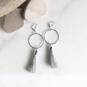 Silver Tassel Earrings. Chandelier Earrings. Silver Hoop Tassel Earrings. Tassel Earrings. Jewelry Gift. Tassel Earrings. Statement Earrings