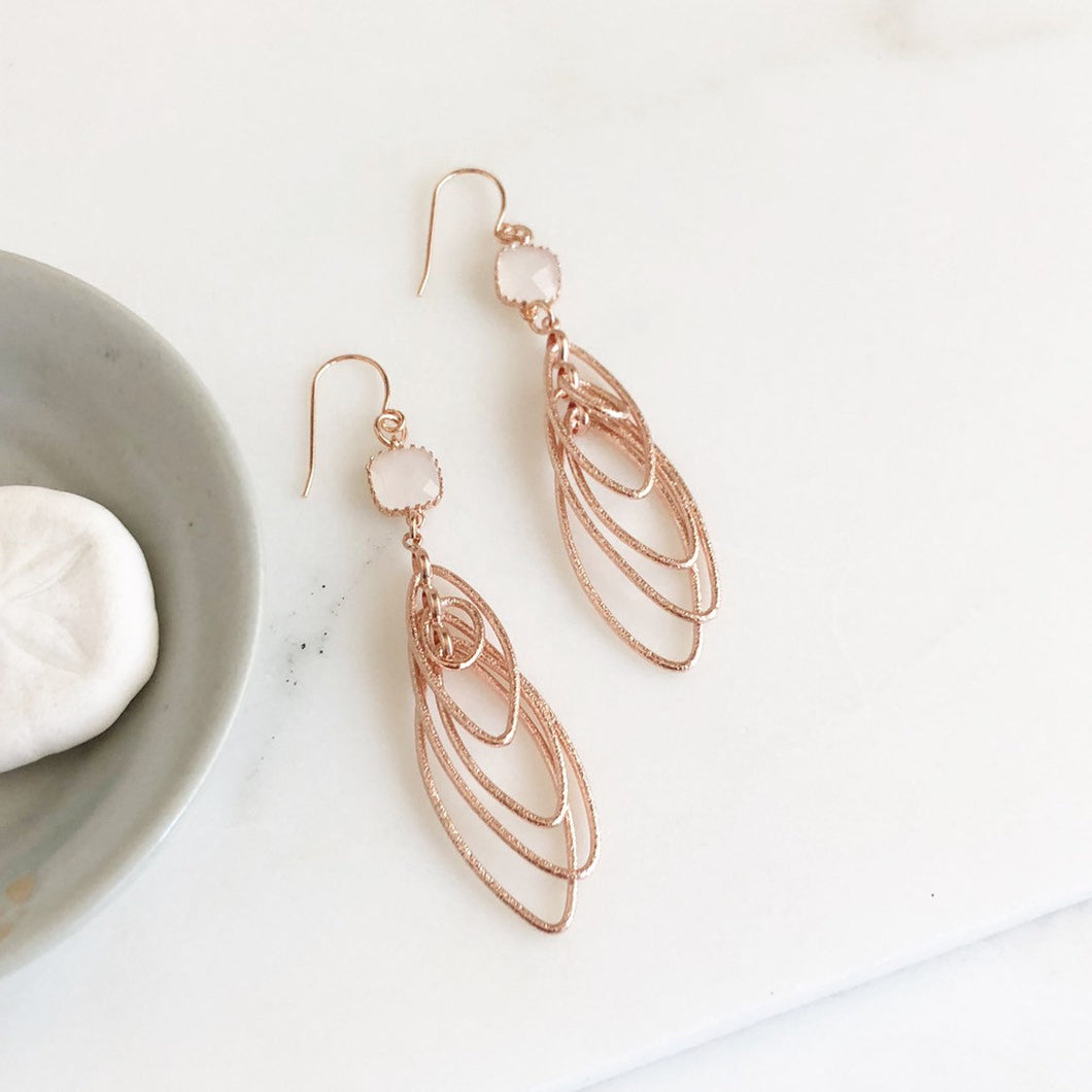 Rose Gold Statement Earring. Long Rose Gold Earrings with Smoky White Stones. Marquis Multiple Drop Rose Gold Earrings. Rose Gold Jewelry.