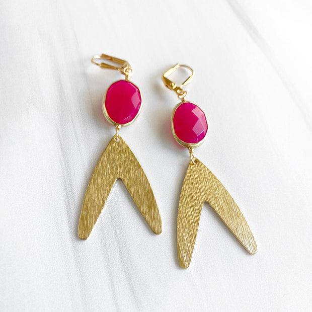 Unique Dangle Earrings with Pink Chalcedony. Pink Stone Gold Statement Earrings