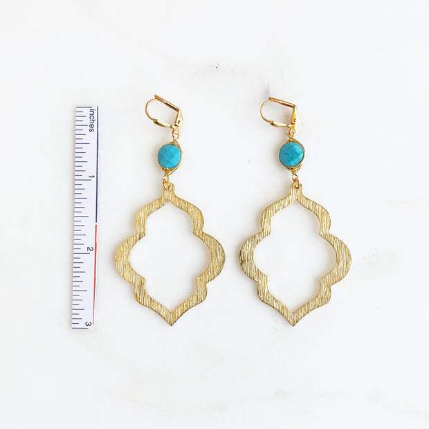 Turquoise Statement Earrings with Large Gold Textured Pendants. Statement Dangle Earrings