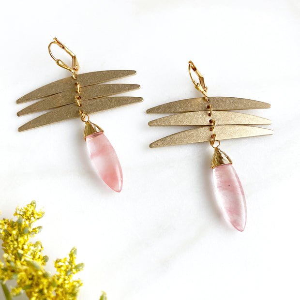 Dragonfly and Cherry Quartz Statement Earrings in Gold. Gold Dangle Earrings