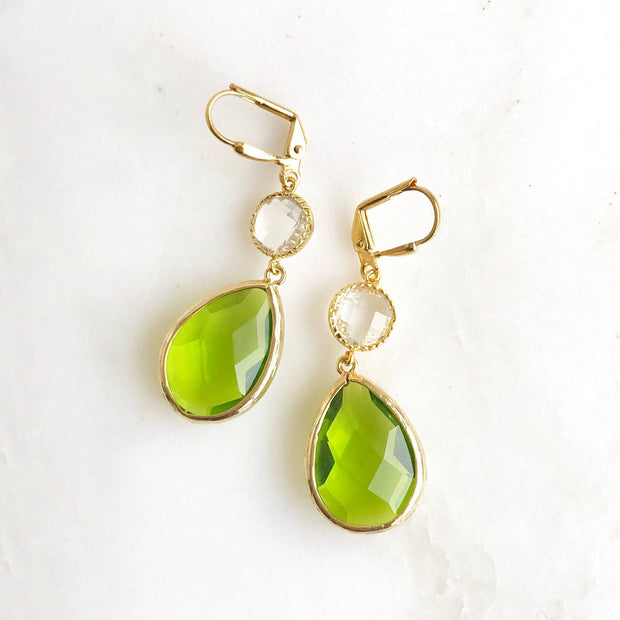 Olive Green and Clear Crystal Dangle Earrings. Drop. Fashion Jewelry. Christmas Gift. Fall Jewelry. Autum Earrings. Drop Earrings. Gift.