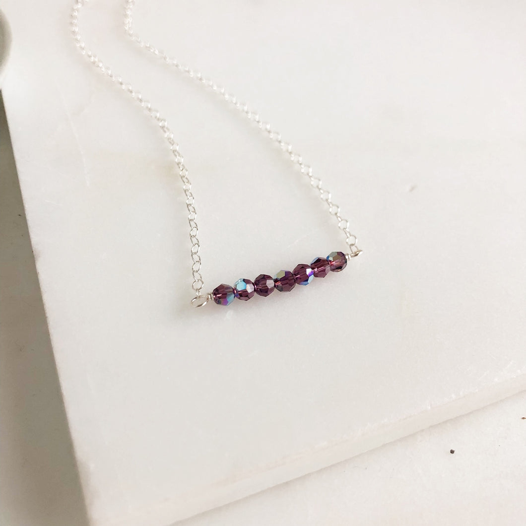 Purple Swarovski Crystal Beaded Necklace. Silver Beaded Bar Necklace Delicate Necklace.