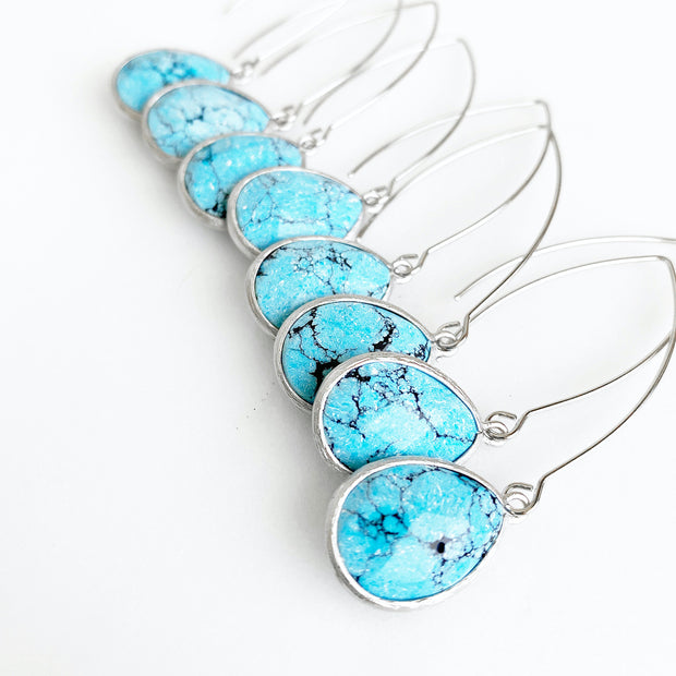 Turquoise Stone Drop Earrings. Turquoise and Silver Earrings