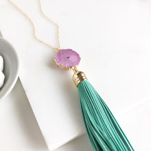 Load image into Gallery viewer, Tassel Necklace. Leather Tassel Necklace. Aqua Tassel and Pink Solar Quartz Necklace. Long Necklace