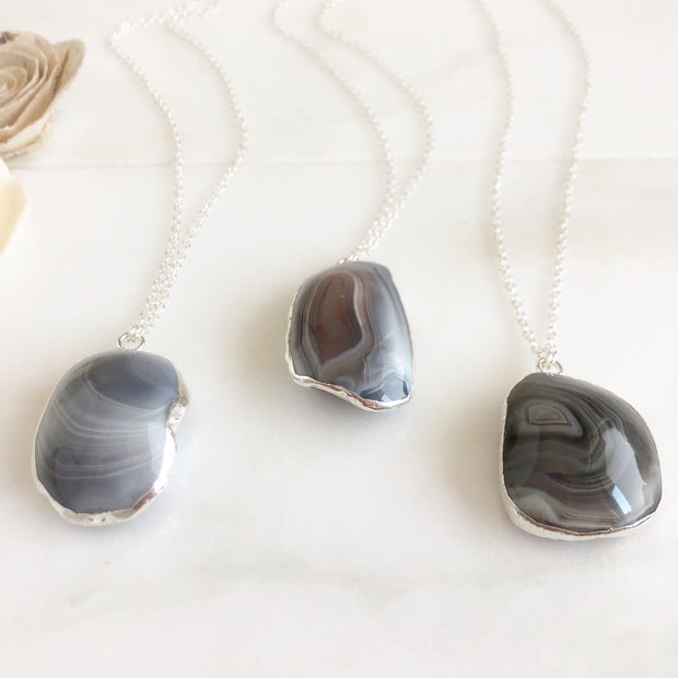 Silver Chunky Agate Necklace. Smokey Grey White Black Necklace