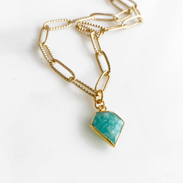 Amazonite Shield Choker Necklace in Gold. Chunky Gold Chain Choker Necklace