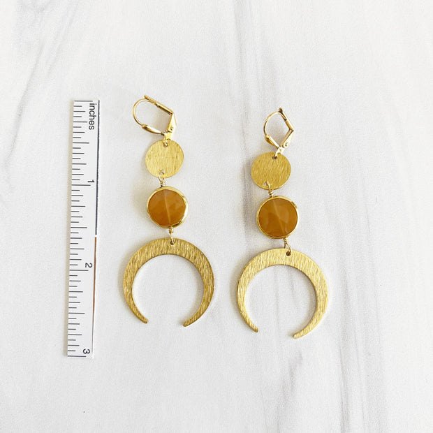 Peach Moonstone and Crescent Dangle Earrings. Brushed Brass Moon Gold Earrings